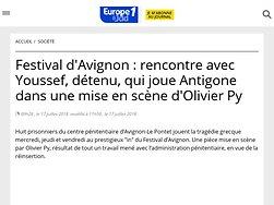 Rencontre avec Youssef, détenu, qui joue Antigone dans une mise en scène d'Olivier Py