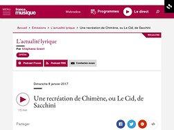 Une recréation de Chimène, ou Le Cid, de Sacchini