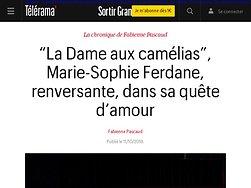"""""""La Dame aux camélias"""", Marie-Sophie Ferdane, renversante, dans sa quête d'amour"""