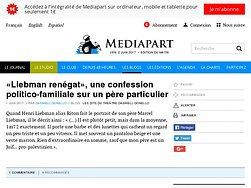 «Liebman renégat», une confession politico-familiale sur un père particulier
