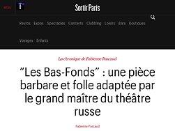 """""""Les Bas-Fonds"""" : une pièce barbare et folle adaptée par le grand maître du théâtre russe"""