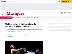Nathalie Joly fait revivre la verve d'Yvette Guilbert