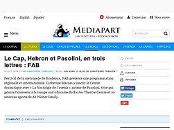 Le Cap, Hebron et Pasolini, en trois lettres : FAB