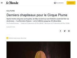 Derniers chapiteaux pour le Cirque Plume