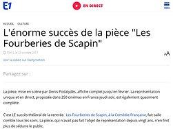 """L'énorme succès de la pièce """"Les Fourberies de Scapin"""""""