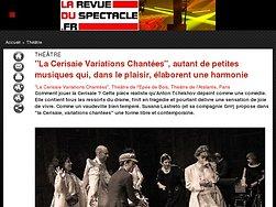 """""""La Cerisaie Variations Chantées"""", de petites musiques qui  élaborent une harmonie"""