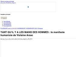 Le manifeste humaniste de Violaine Arsac