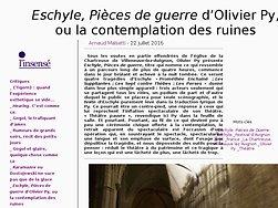 """Eschyle, """"Pièces de guerre"""" d'Olivier Py, ou la contemplation des ruines"""