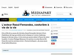 L'acteur Raoul Fernandez, couturière à vie de la vie