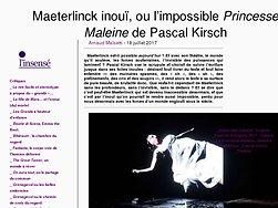 Maeterlinck inouï, ou l'impossible Princesse Maleine de Pascal Kirsch