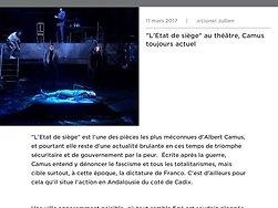 """""""L'Etat de siège"""" au théâtre, Camus toujours actuel"""
