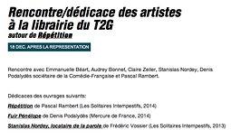 Illustration de Rencontre/dédicace des artistes au T2G