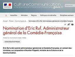 Comedie Francaise Calendrier.Nomination D Eric Ruf Administrateur General De La Comedie