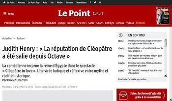 JudithHenry: «La réputation de Cléopâtre a été salie depuis Octave»