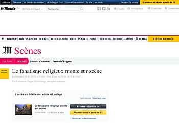 Le fanatisme religieux monte sur scène