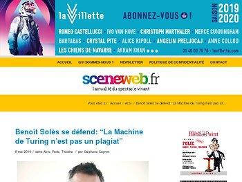 """Benoît Solès se défend: """"La Machine de Turing n'est pas un plagiat"""""""