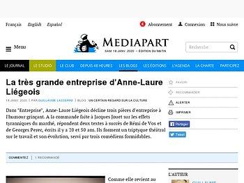 La très grande entreprise d'Anne-Laure Liégeois