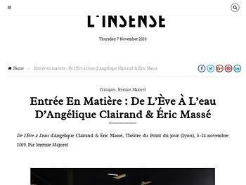Entrée en matière : De l'Ève à l'eau d'Angélique Clairand & Éric Massé