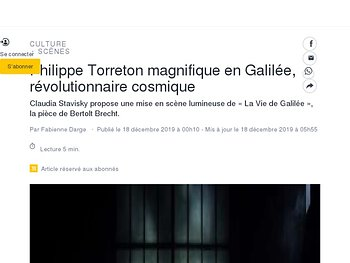 Philippe Torreton magnifique en Galilée, révolutionnaire cosmique
