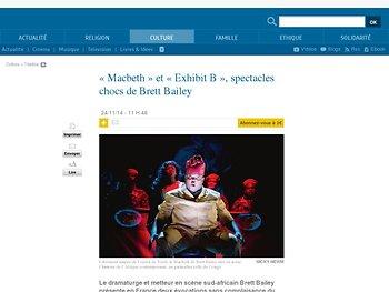«Macbeth» et «Exhibit B», spectacles chocs de Brett Bailey | La-Croix.com