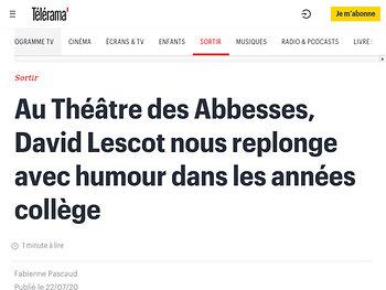 Au Théâtre des Abbesses, David Lescot nous replonge avec humour dans les années collège