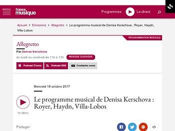 Le programme musical de Denisa Kerschova : Royer, Haydn, Villa-Lobos
