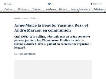 Anne-Marie la Beauté: Yasmina Reza et André Marcon en communion