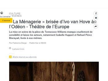 «La Ménagerie» brisée d'Ivo van Hove à l'Odéon