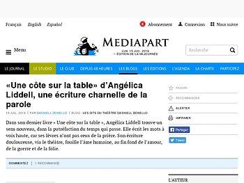«  Une côte sur la table » d'Angélica Liddell, une écriture charnelle de la parole