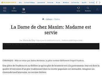 La Dame de chez Maxim : Madame est servie