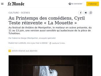 Au Printemps des comédiens, Cyril Teste réinvente «La Mouette»