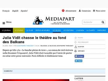 Julia Vidit chasse le théâtre au fond des Balkans