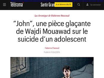 """""""John"""", une pièce glaçante de Wajdi Mouawad sur le suicide d'un adolescent"""