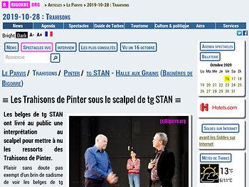 Les Trahisons de Pinter sous le scalpel de tg STAN