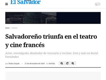 Salvadoreño triunfa en el teatro y cine francés