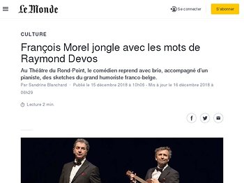 François Morel jongle avec les mots de Raymond Devos