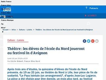 Les élèves de l'école du Nord joueront au festival In d'Avignon