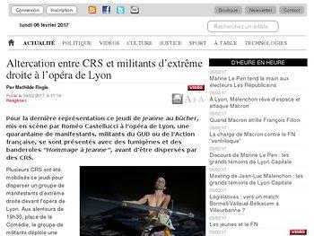 Altercation entre CRS et militants d'extrême droite à l'opéra de Lyon