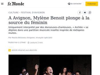 A Avignon, Mylène Benoit plonge à la source du féminin