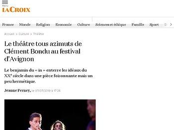 Le théâtre tous azimuts de Clément Bondu au festival d'Avignon