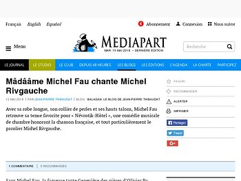 Mâdââme Michel Fau chante Michel Rivgauche