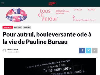 Pour autrui, bouleversante ode à la vie de Pauline Bureau
