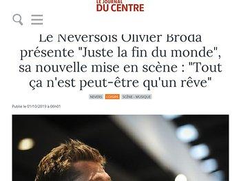 """Le Neversois Olivier Broda présente """"Juste la fin du monde"""", """"Tout ça n'est peut-être qu'un rêve"""""""