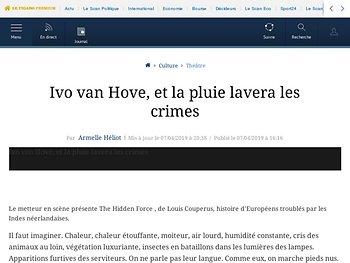 Ivo van Hove, et la pluie lavera les crimes