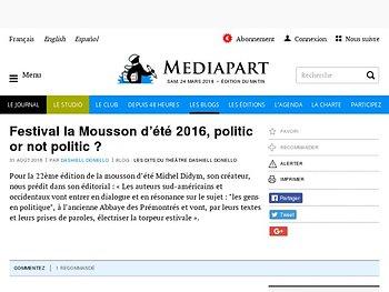 Festival la Mousson d'été 2016, politic or not politic ?