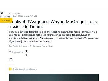 Festival d'Avignon: Wayne McGregor ou la fission de l'intime