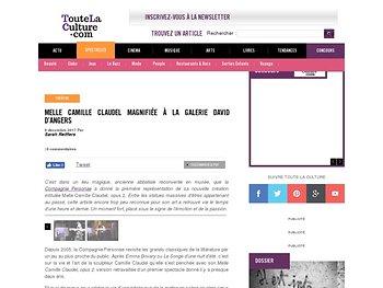 Melle Camille Claudel magnifiée à la Galerie David D'Angers -