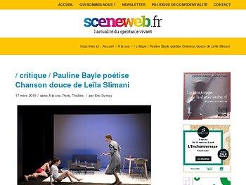 Pauline Bayle poétise Chanson douce de Leïla Slimani