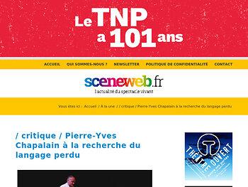 Pierre-Yves Chapalain à la recherche du langage perdu