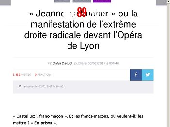 « Jeanne au bûcher » ou la manifestation de l'extrême droite radicale devant l'Opéra de Lyon